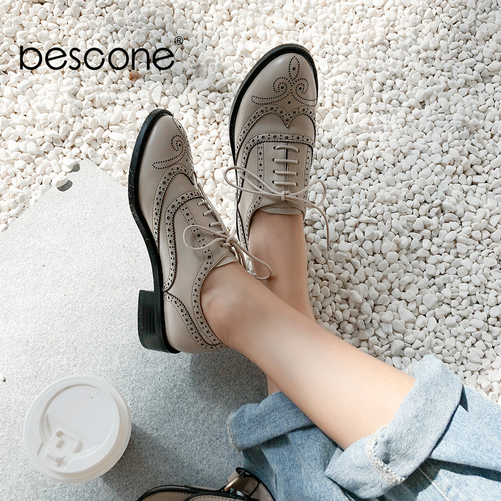 BESCONE Brogue Women Flats Casual Cow Leather Round Toe Handmade Female Shoes Low Heels Lace up