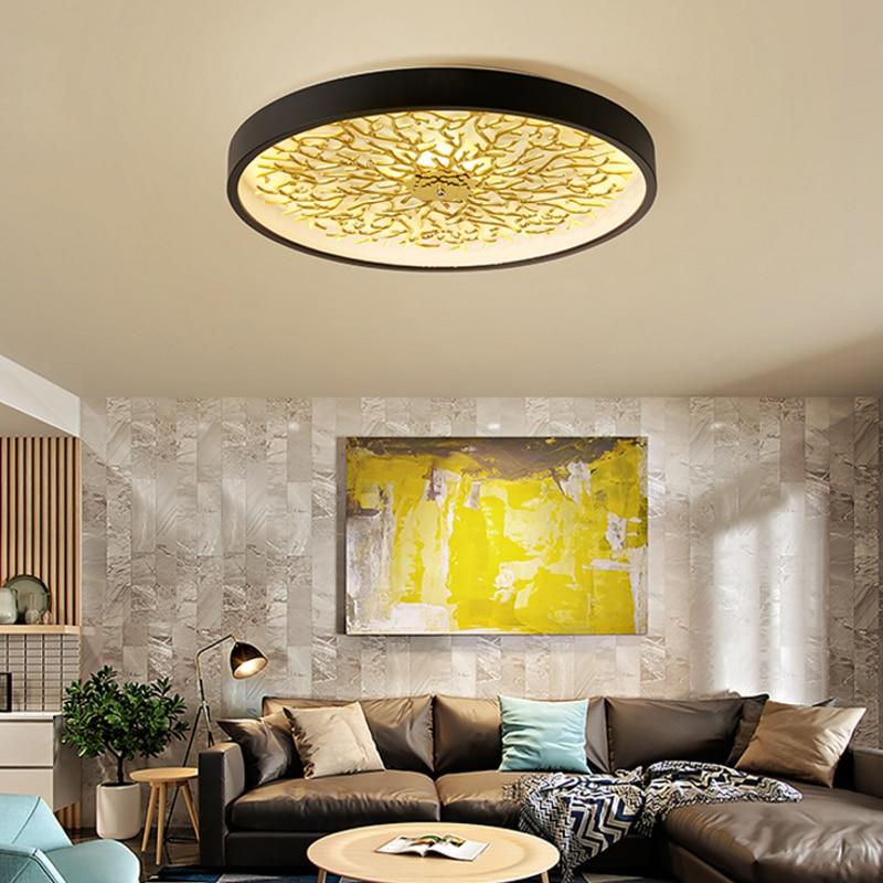 Dressing led or plafonniers moderne rond or/noir Led éclairage de plafond pour chambre café éclairage led Lampara Techo