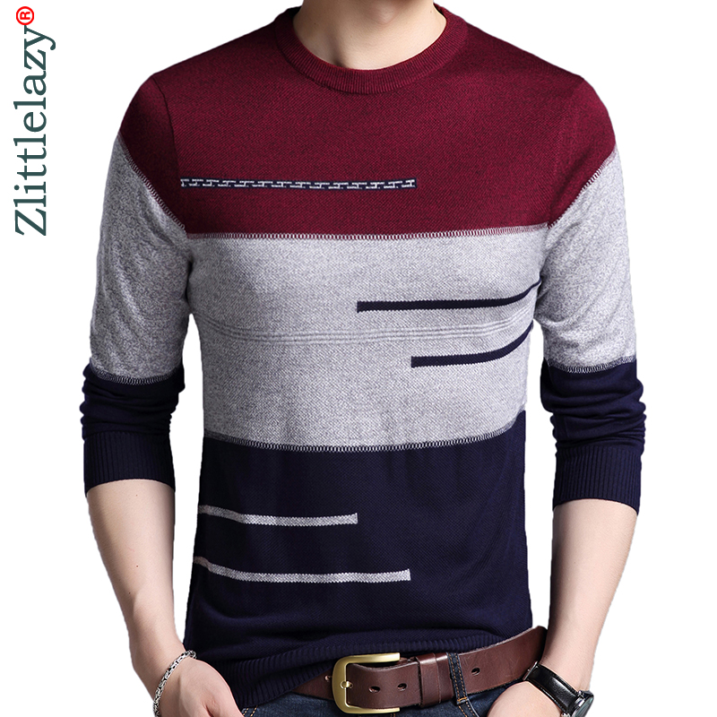 2019 Brand Male Pullover Sweater Men Knitted Jersey Striped Sweaters Mens Knitwear Clothes Sueter Hombre Camisa Masculina 100(China)