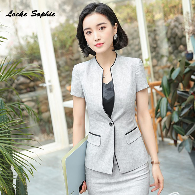 1pcs Women Plus size Blazers coats 2019 Autumn cotton blend Short sleeve V neck Small Suits jackets ladies Skinny Blazers Suits in Blazers from Women 39 s Clothing