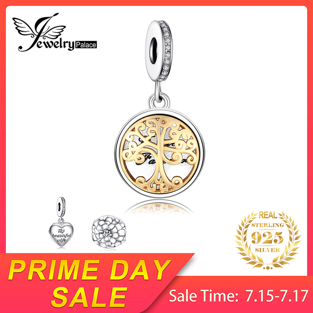 Jewelrypalace 925 Sterling Silver Photo Frame Pendants Charms Beads fit Bracelets Gold Family Tree Fashion DIY Jewelry for Women