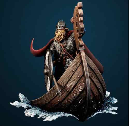 1/32 54mm Viking Drakkar longboat soldier ancient 54mm   toy Resin Model Miniature resin figure Unassembly Unpainted