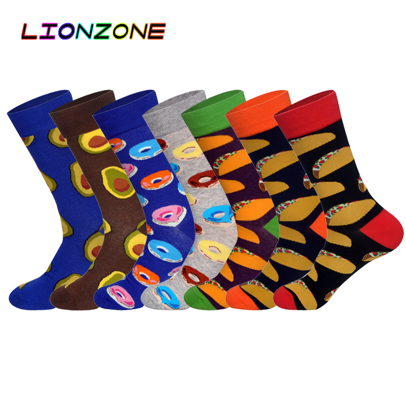 LIONZONE Men Happy Socks Delicious Foods Printing Burritos Doughnut Avocado Cotton Classic Casual Long Socks Funny