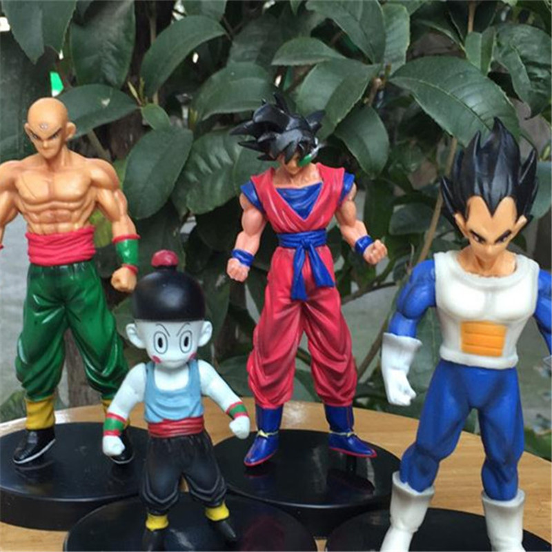 1pc/lot Anime Dragon Ball Super Saiyan 4 Styles Goku/Tien/Chiaotzu/Vegeta Action Figure Model Kids Toys Brinquedos 13cm ydaenerys anime figure dragon ball vegetto super saiyan god blue hair kakarotto vegeta goku action figure toys model kids gift
