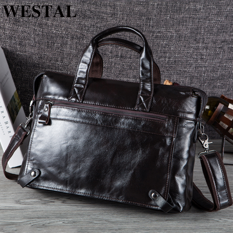 WESTAL Bag Men's Leather Men's Briefcase Handbag Leather Laptop Bag For Men Men's Genuine Leather Bag Business Office Men's Bag