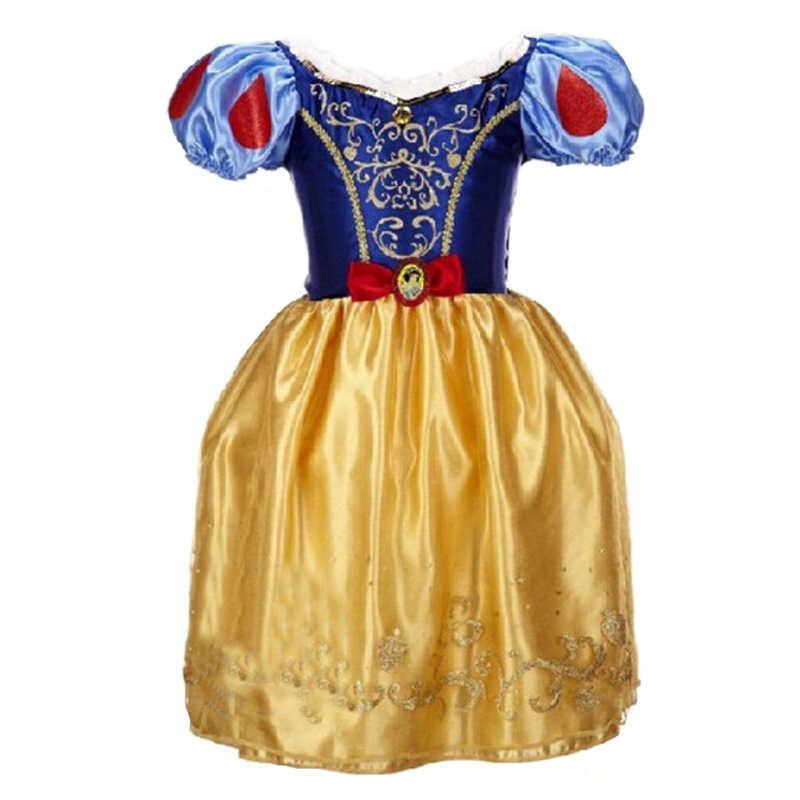 Verão menina branca neve princesa vestido neve rainha cosplay traje crianças aniversário meninas vestido de festa roupas manga sopro
