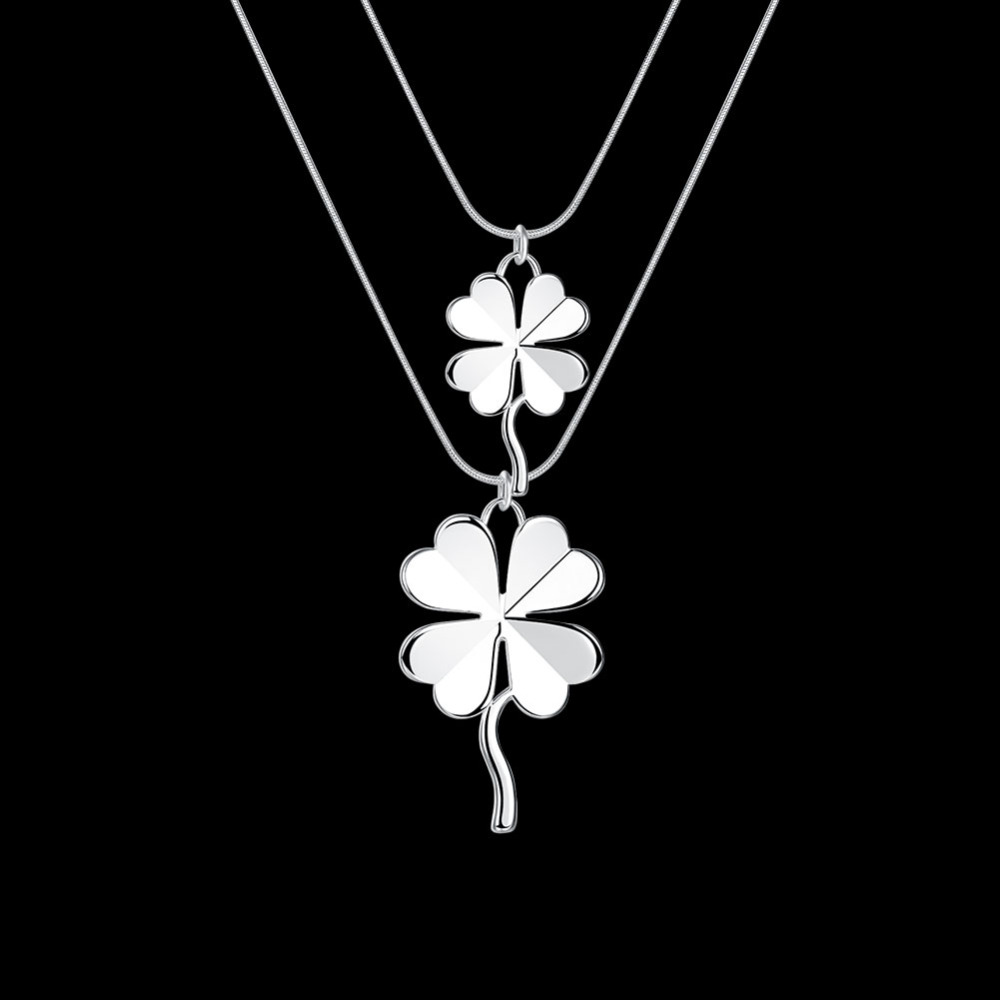 925 sterling silver jewelry  two four leaf clover double pendants two snake chains long choker necklace popular low priceCN218