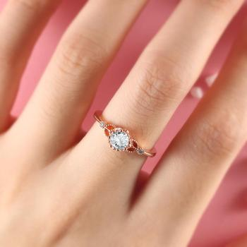 BOAKO Engagement Ring Flower Rose Gold Vintage Rings for Women Milgrain CZ Zircon Bridal Anniversary Jewelry Gifts anelli donna pre-engagement ring