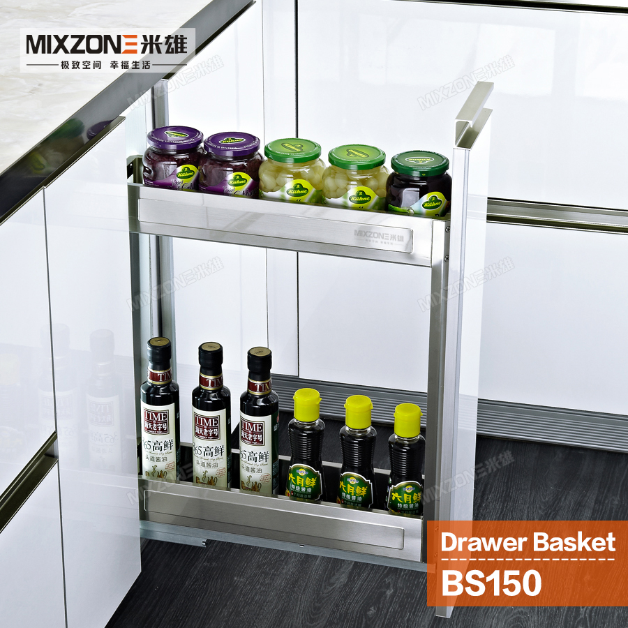 Eco Friendly Stainless Steel Pull Out Storage Drawer Two Tiers E Bottles Rack Kitchen Cabinet Sliding Basket Mixzone Bs150 In Baskets From Home