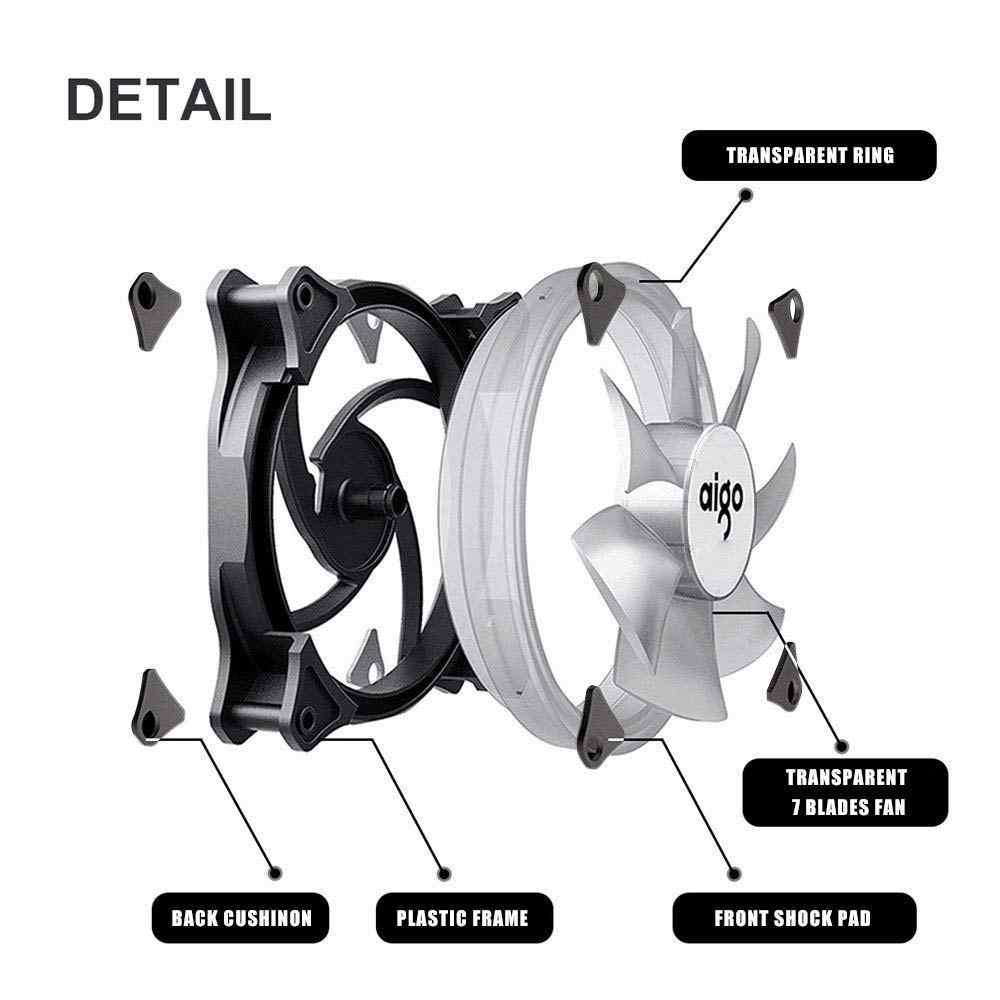 Aigo Led Case Fan 140Mm Fans Stille Glijlager 12V 3pin + 4pin Desktop Pc Fan Computer Cooling cooler Cpu Koelers Radiatoren