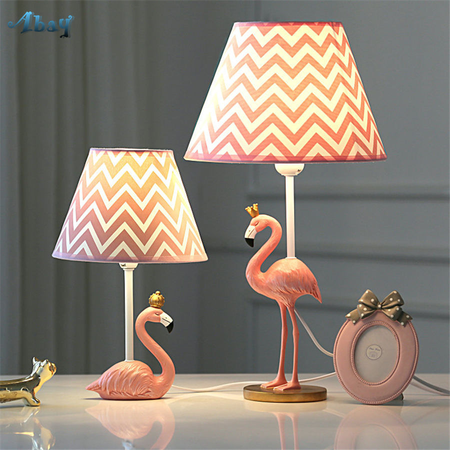 Art Deco Romantic Flamingo Led Table Lamp For Living Room Study Pink Girls Bedroom Deco Desk Lamp Kids Birthday Gift Table Light Led Table Lamps Aliexpress