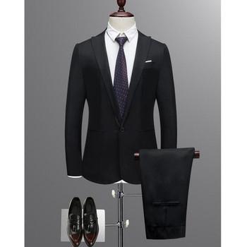 Custom black men's business formal suit men's suit three-piece suit (coat + vest + pants) wedding groom groomsman suit dress