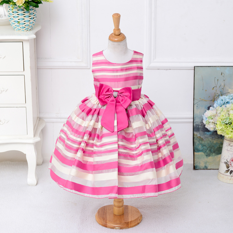 2018 Fashion Children Baby Striped Bow Dress Girl Birthday Party Sleeveless Striped Girl Tutu Dress Bow Pattern For 2 to 8 Years muqgew new fashion 2018 children party