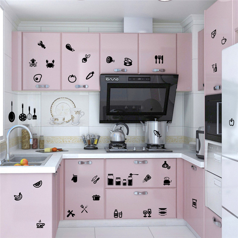 Diy Kitchenware Food Clothing Cups Tableware Wall Sticker For Dining Room Kitchen Warn Furniture Refrigerator Home Decor Decals
