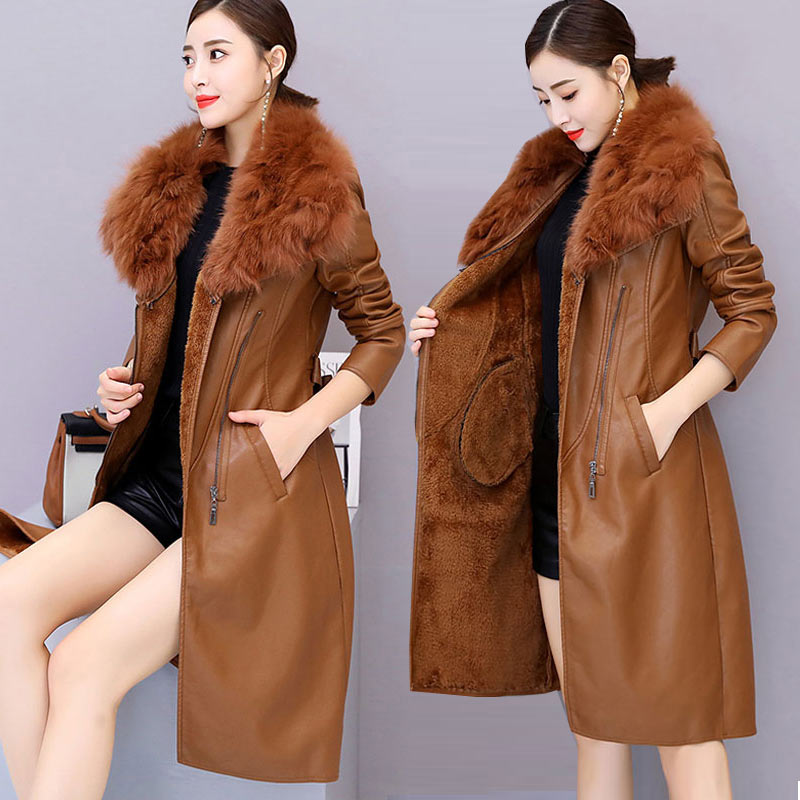 Winter Women PU Faux   Leather   Jackets With Fur Collar Thick Plus Velvet Coats Medium Long Solid Outerwear Slim OL M-3XL