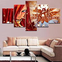 Home Decor Wall Canvas Art Erza Scarlet 5 Pieces Paintings Fairy Tail Anime  Living Room