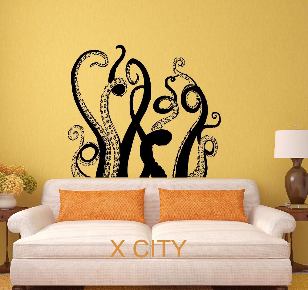 octopus tentacles sea monster black wall art decal sticker removable vinyl transfer stencil. Black Bedroom Furniture Sets. Home Design Ideas