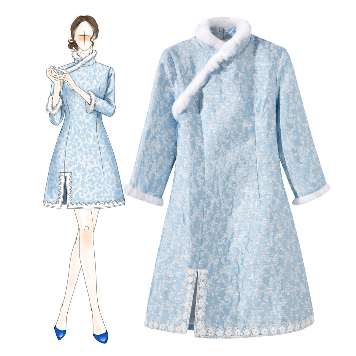 Winter Women Mini Qipao Sexy Thicken Jacquard Flocking Warmth Slim Modified Cheongsam Elegant Rabbit Hair Formal Dress Vestidos
