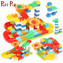 Marble Race Run Maze Ball Track 56-112PCS Building Blocks Funnel Slide Big Size Bricks Compatible Legoed Duploed Children Toys(China)
