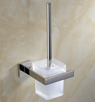 Free Shipping SUS 304 Stinless Steel Toilet Brush Holder Construction Base In Polish Finish Frosted Glass
