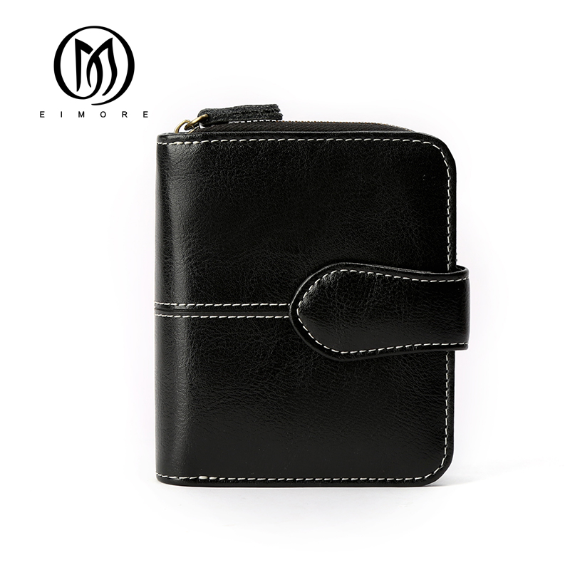 EIMORE New Woman Wallet Split Leather Female Short Wallet Purse High Quality Zipper Coin Purse Small Wallet Card Holder Carteire