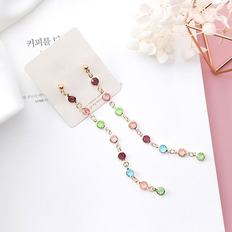 MENGJIQIAO New Arrival Candy Color Crystal Beads Long s