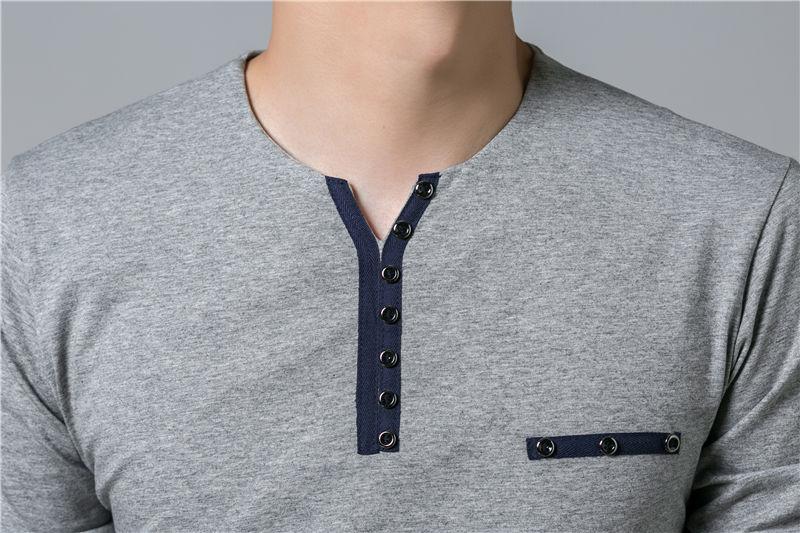 HTB1eg63PpXXXXXeXFXXq6xXFXXX0 - COODRONY Cotton T Shirt Men 2018 Spring Autumn New Long Sleeve T-Shirt Men Henry Collar Tee Shirt Men Fashion Casual Tops 7617