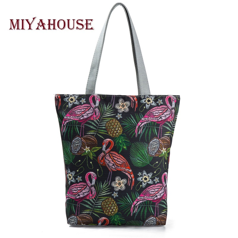 Miyahouse Embroidery Flamingo Printed Shoulder Bag Lady Colorful Canvas Tote Handbag Female Large Capacity Women Shopping Bag