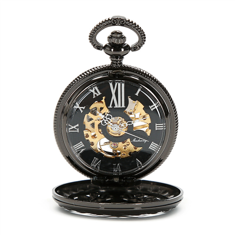 Steampunk Pocket Watch New Design Luxury Brand Fashion Skeleton Watches Hand Wind Mechanical Pocket Watch W/Chain