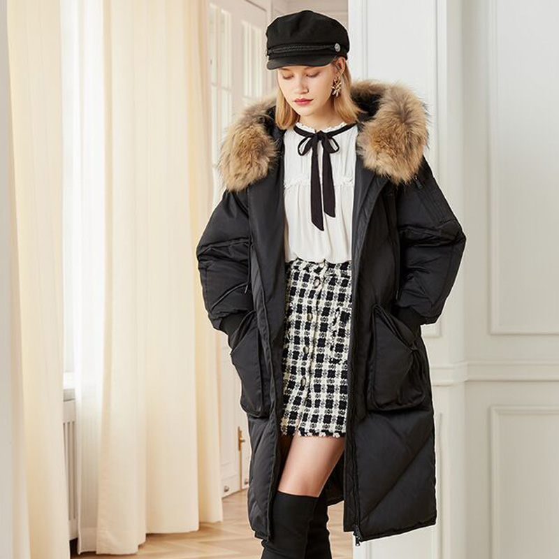 Real Natural Raccoon Fur 2018 Winter Jacket Women Loose Down Parkas Hooded Female Jacket Coat White Duck Down Jacket Plus Size