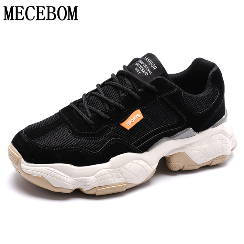 Men's Casual Shoes Breathable Mesh Black Sneakers Male Handsome Thick Sole Student Dad Shoes Zapatillas Hombre 39-44 8611m