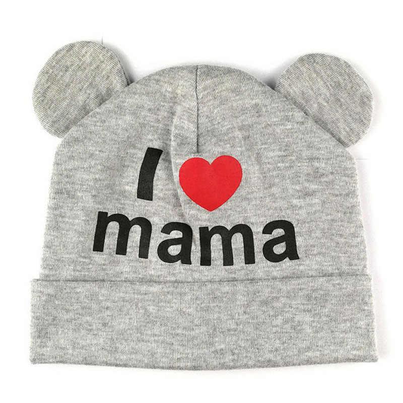 Linda oreja bebé sombrero recién nacido niños niñas algodón gorro suave otoño invierno niños I amo a mamá y papá impreso gorras