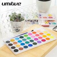 Umitive 12/16/28/36 цветов портативный однотонный набор акварельных красок кисть для воды ручка для детской живописи товары для искусства