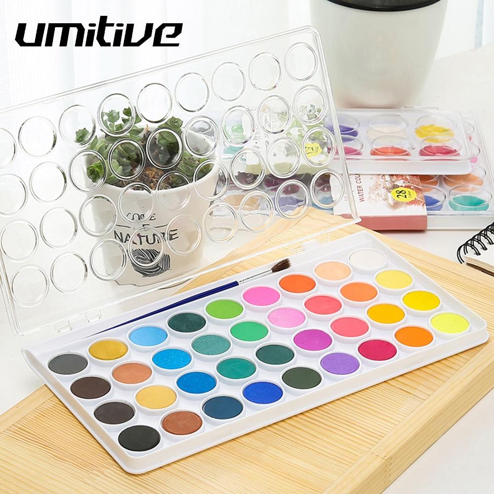 Umitive 12/16/28/36 Farben Tragbare Feste Aquarell Malen Set Wasser Farbe Pinsel Stift Für kind malerei Kunst Liefert