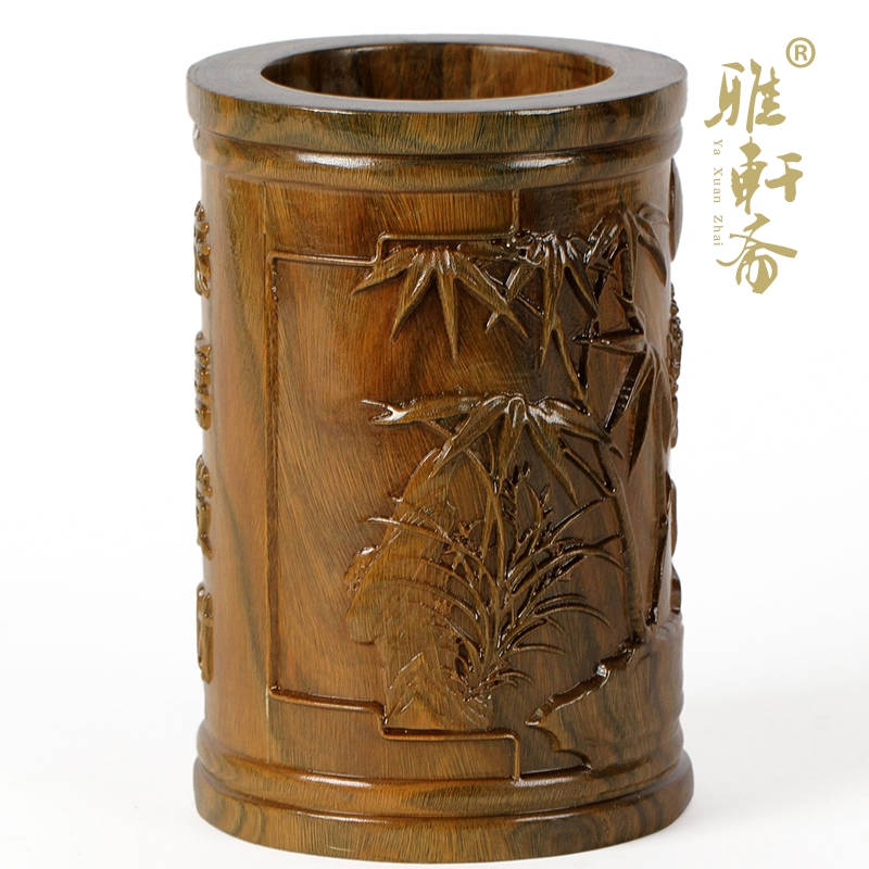 Ya Xuanzhai mahogany crafts four Pen Green Sandalwood carving ornaments to lucky gifts