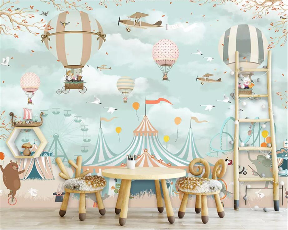 Beibehang Custom Wallpaper 3D Mural Romantic Cartoon Hot Air Balloon Background Wall Children Room Decoration Wallpaper