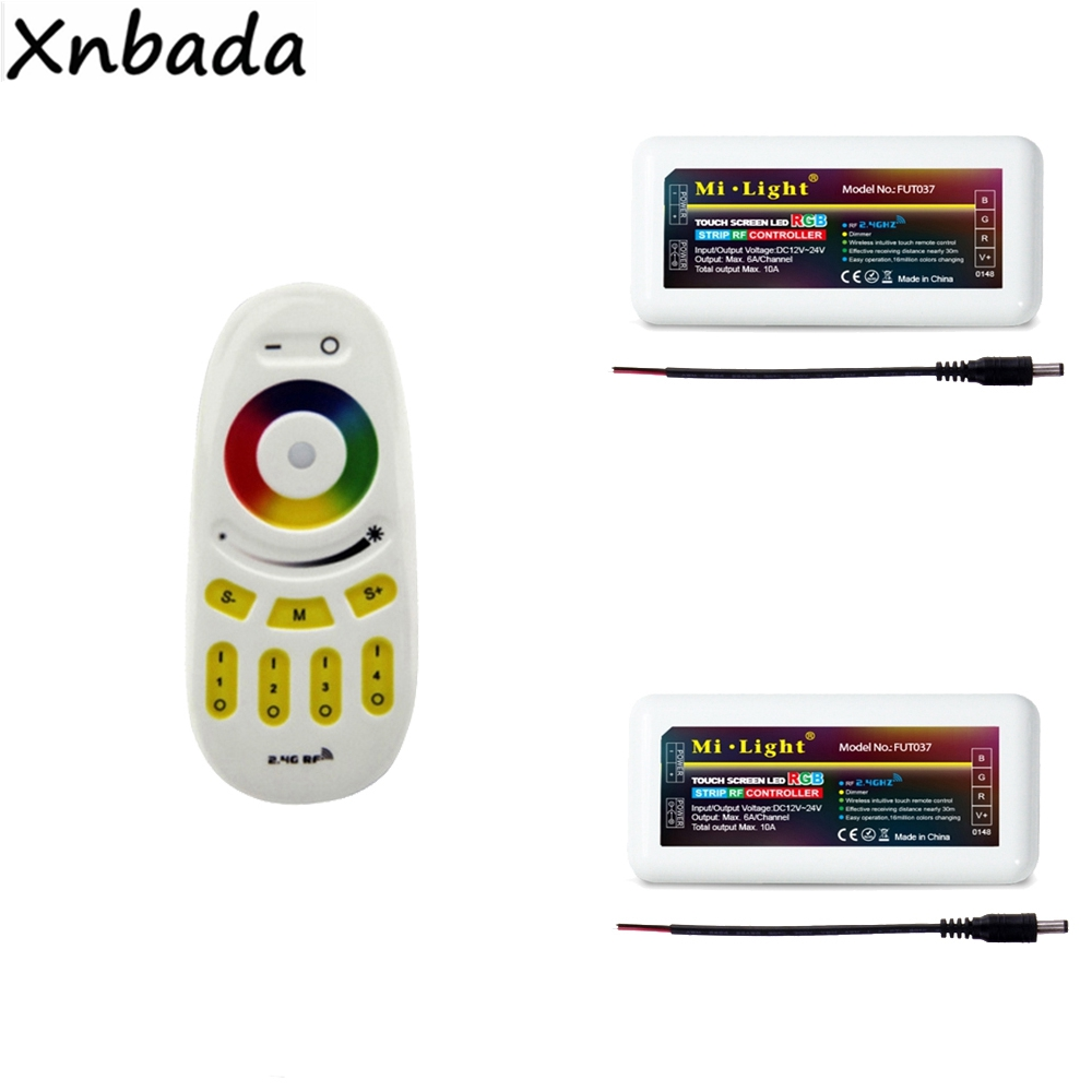 Milight <font><b>FUT096</b></font> RGBW Touch Screen Led Remote Controller 2Pcs 2.4G 4-Zone Wireless RGB Led Controller For Led Strip DC12-24V image