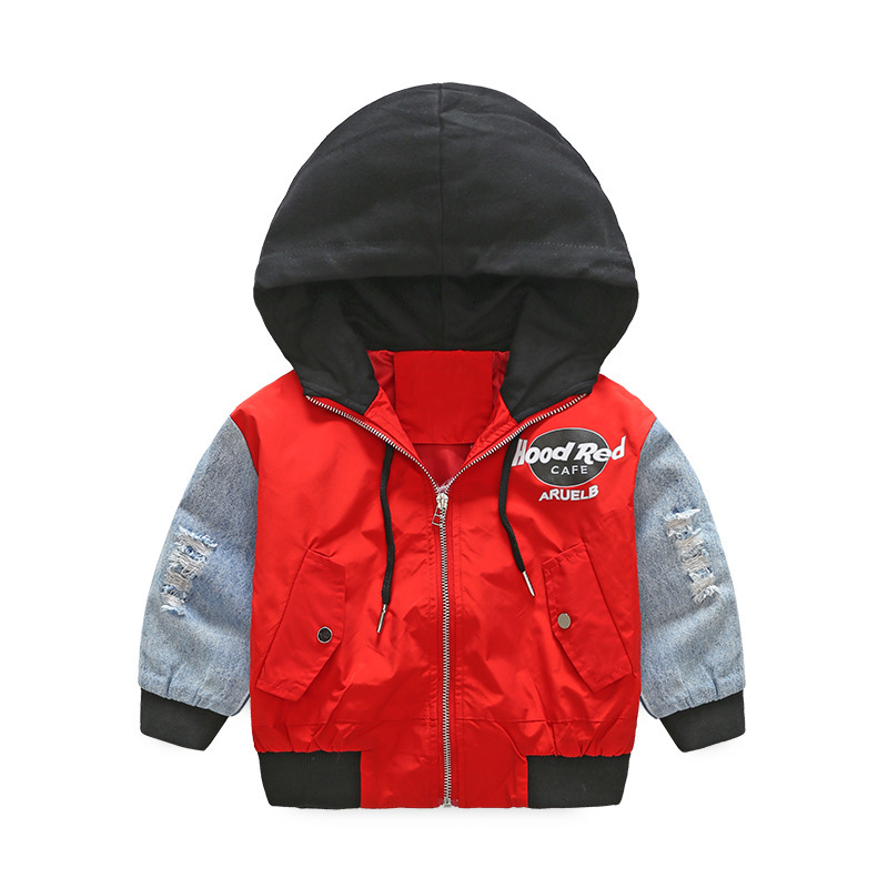 Sweatshirts Jackets Hooded Kids Fashionable Boy Autumn Letter Sport Spring Patchwork
