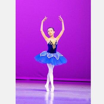 Custom Made Blue Flower Ballet Dresses,Girl Tutu Ballet Costumes Kids Girl Ballet Dress for Children Retail Wholesale HB1288 posh dream mickey cartoon kids girl dress for cosplay pink and hot pink dot minnie girl tutu dresses flower girl cosplay dress