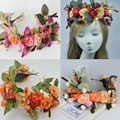 2016 Nueva Moda Nupcial Diadema Kids Party guirnaldas Florales con Cinta Ajustable flor corona Rosa Corona De Flores Para Las Mujeres