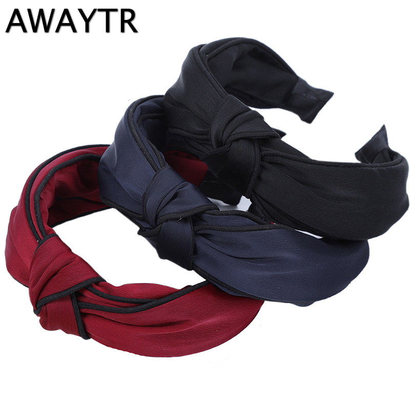 Wide Knotted Headband AWAYTR 2019 New Spring Hair Accessories for Women Girls Simple Headband Wine Red Black Colors   Headwear