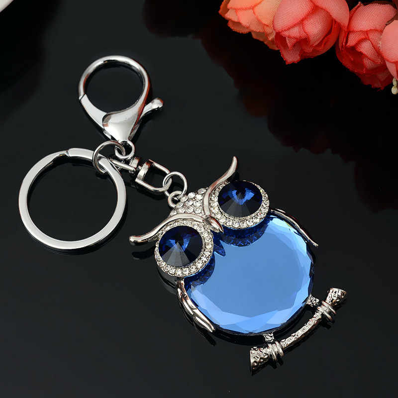 RE nuevo lindo búho cristal llavero llaveros diamantes de imitación coche llaveros soporte bolsa mujer colgante joyería moda regalo G40