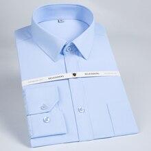 Мужская Классическая однотонная саржевая рубашка с длинным рукавом и нагрудным карманом, деловая рубашка высшего качества