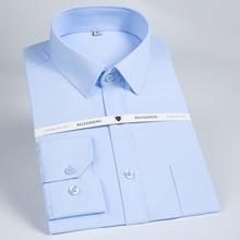 Camisa de manga larga para hombre, vestido clásico de sarga lisa de corte Regular con bolsillos en el pecho, camisas formales de trabajo de alta calidad para negocios