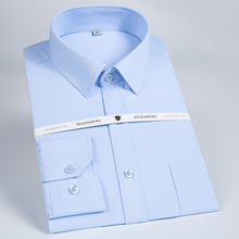 Mens Classic Regular fit Solid Twill Dress Shirt Long Sleeve with Breast Pocket Formal Business Top Quality Work Shirts