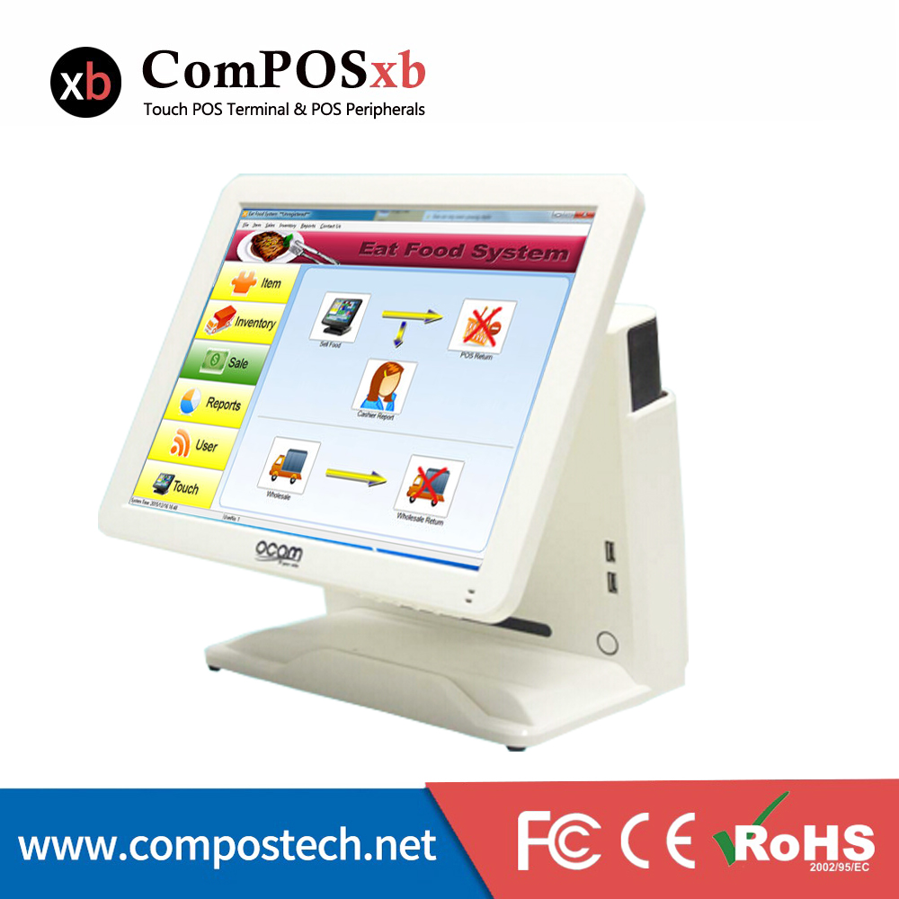 15 TFT LCD Touch Screen Monitor Electronic Point-Of-Sale System POS Terminal Cash Register With Card Reader/Customer Display 15 inch tft lcd touch screen monitor core i3 touch screen pos all in one restaurant epos system with msr customer display
