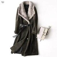 ZiZhen Для женщин зимние натуральная овечья шерсть пальто с мехом Длинная Верхняя одежда трикотажные реального норки меховой воротник с поясо