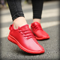 Spring/Autumn New Unisex Plus Size Red Bottom Women Casual Shoes Breathable Waterproof Solid Lace-Up Flat Red Bottom Shoes Woman