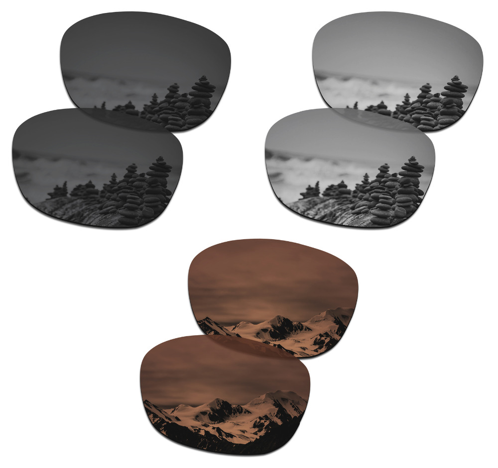 SmartVLT 3 Pairs Polarized Sunglasses Replacement Lenses for Oakley Drop In Stealth Black & Silver Titanium &  Amber Brown