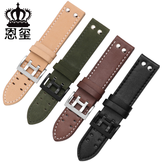 Genuine Leather watchband replacement leather strap Khaki Classic Jazz Seiko wat